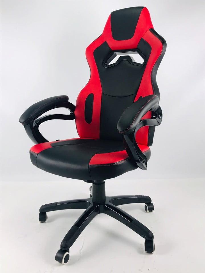 czerwono czarny fotel materiałowy