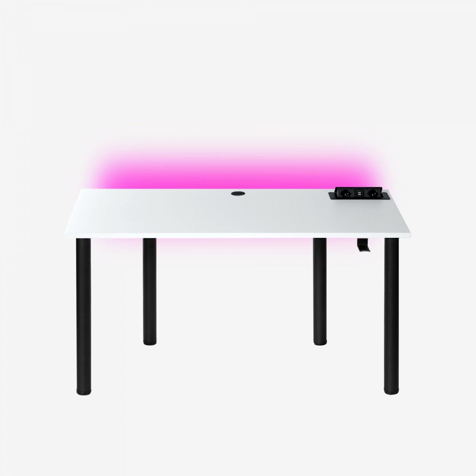 białe biurko gamingowe z podświetleniem