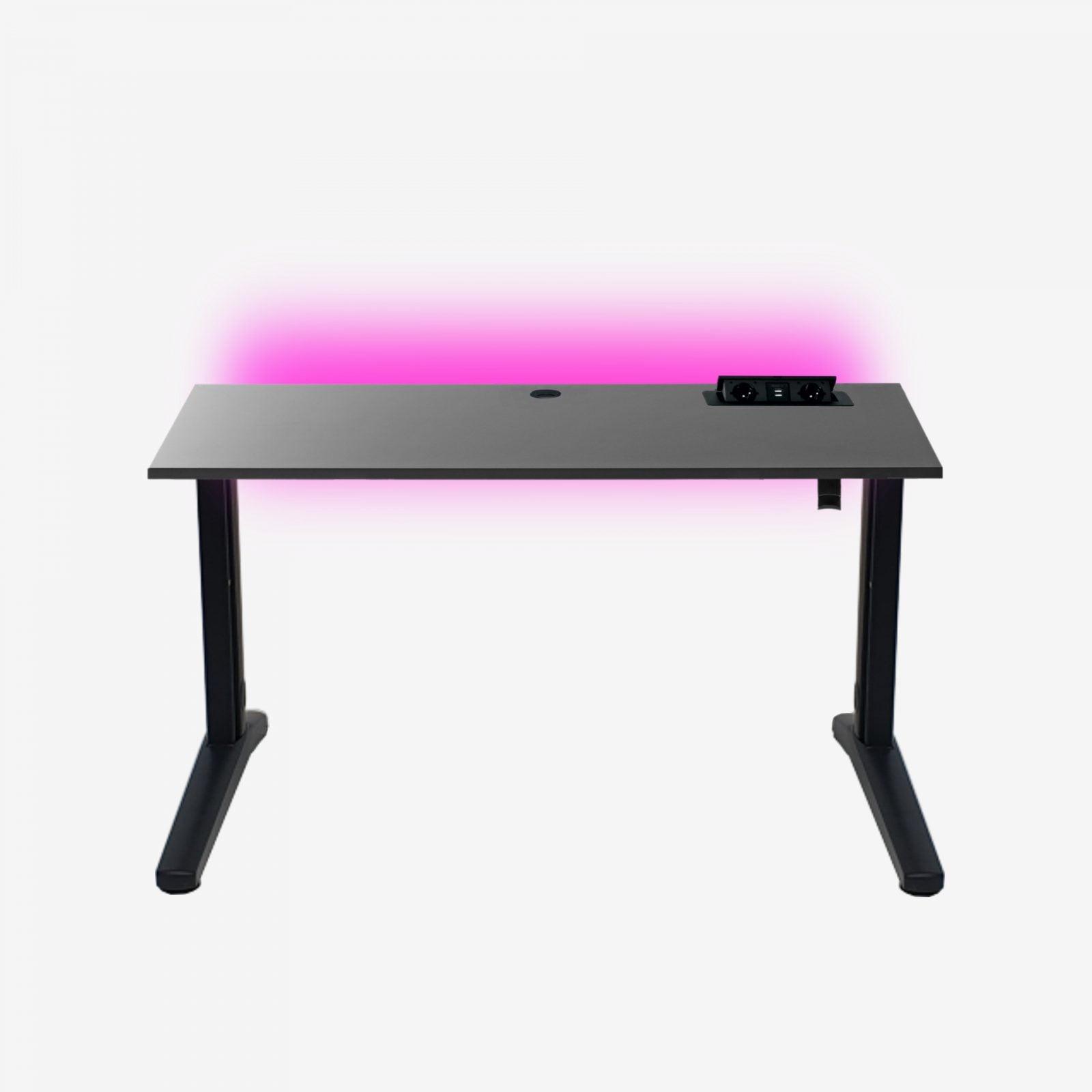 biurko gamingowe z przepustem na stelażu